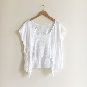Free People White Lace Tee
